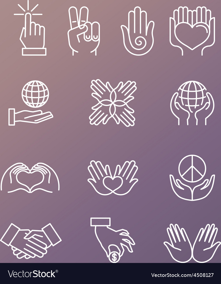 Set linear hand icons and gestures