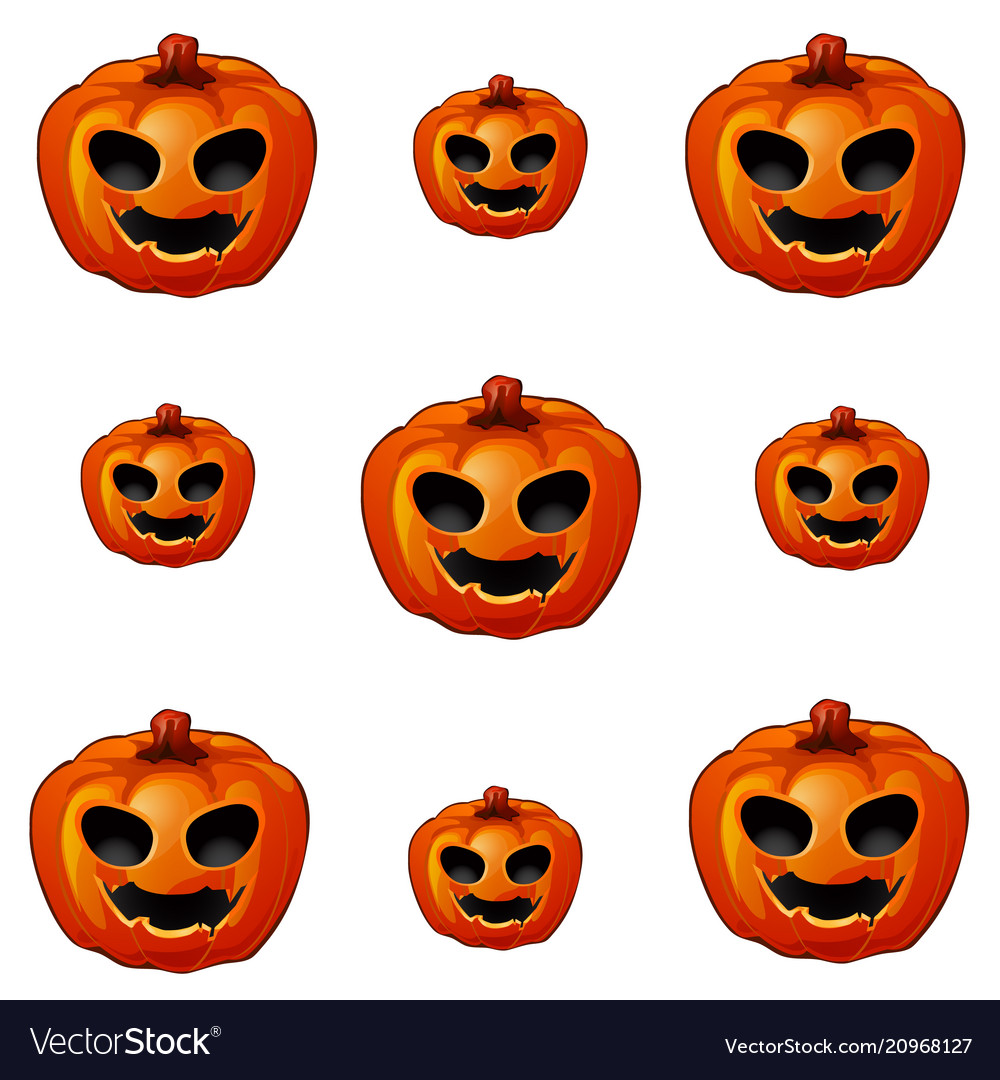 Set of ripe pumpkin with eyes and mouth jack-o