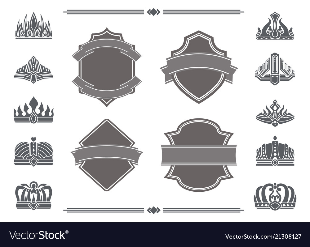 Shields with blank ribbons for signs and crowns