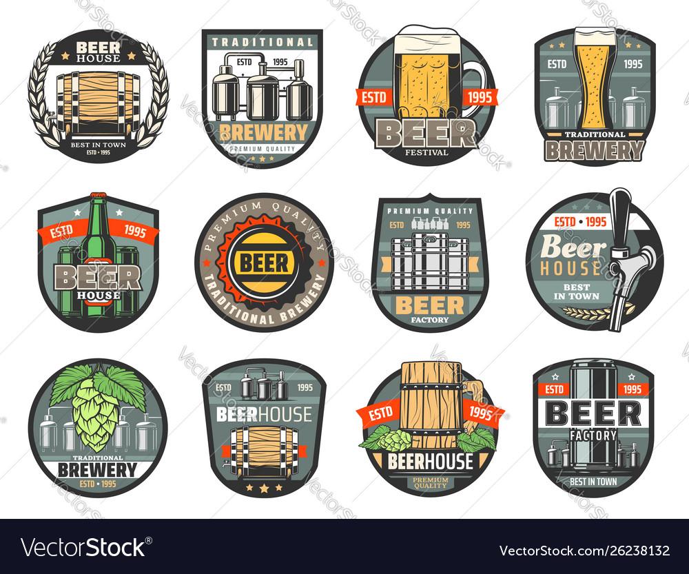 Beer bottles glasses and barrels brewery or pub