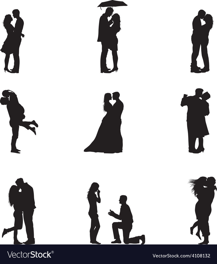 Black Silhouette Couples In Love