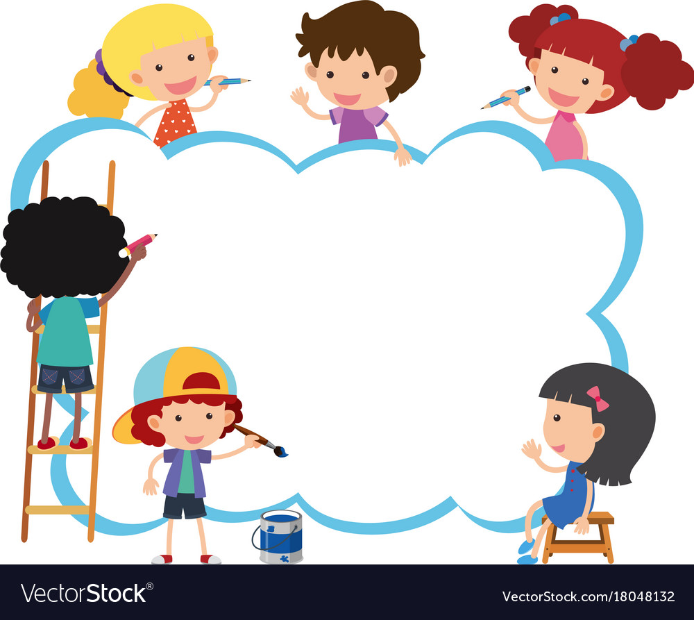 Border template with happy kids painting Vector Image