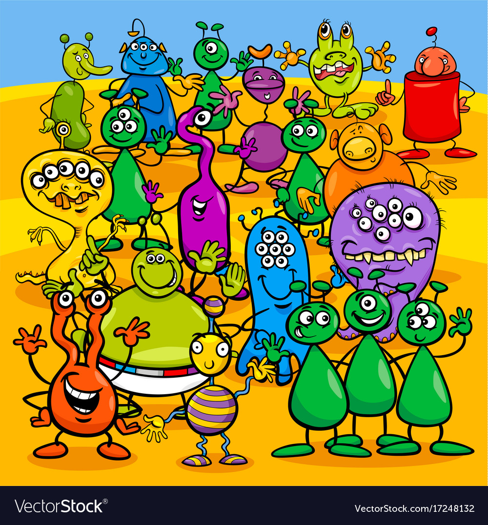 Cartoon aliens fantasy characters group