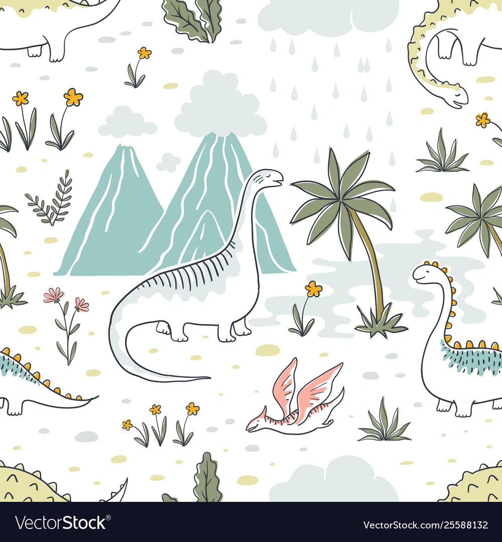 Doodle dinosaur pattern seamless textile dragon