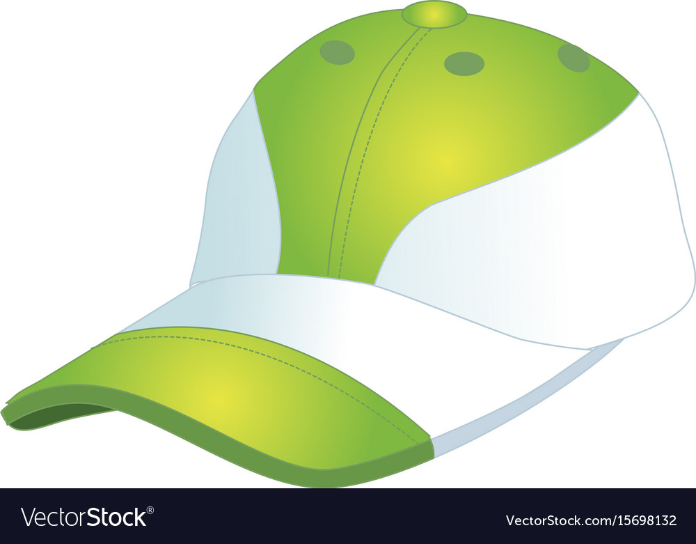 Fashionable sports baseball cap green with white