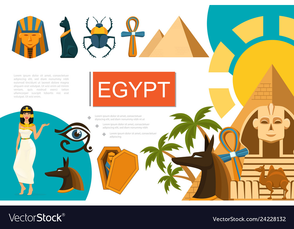 Flat egypt symbols composition