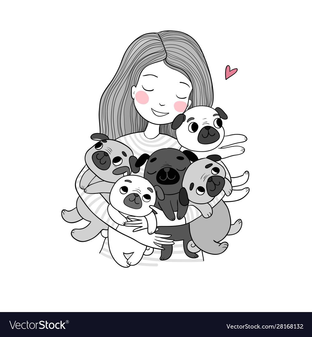Girl with funny cute pugs cartoon cheerful dogs