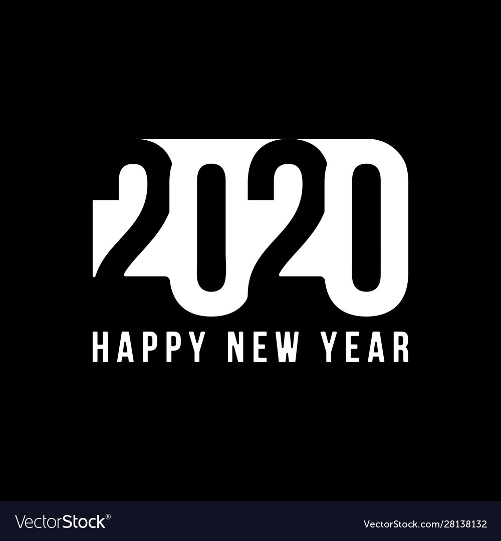 Happy new year 2020 text design patter