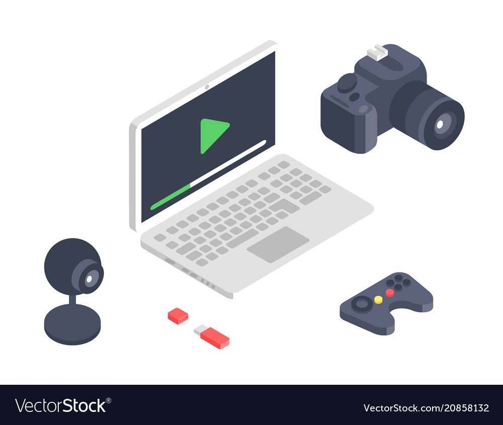 Isometric gadget computer devices icons