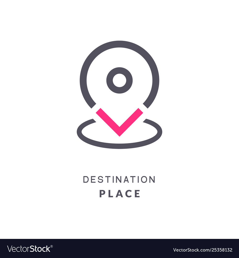 Map pin destination icon gps place sign flat