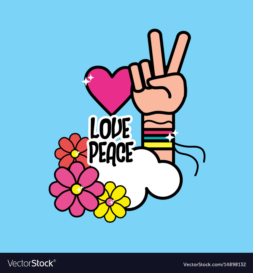 Nice Hippie Symbol With Hand Of Peace And Love Vector Image