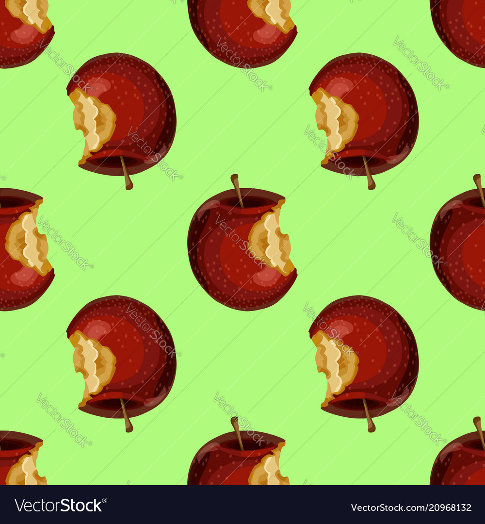Red apple while core half seamless pattern