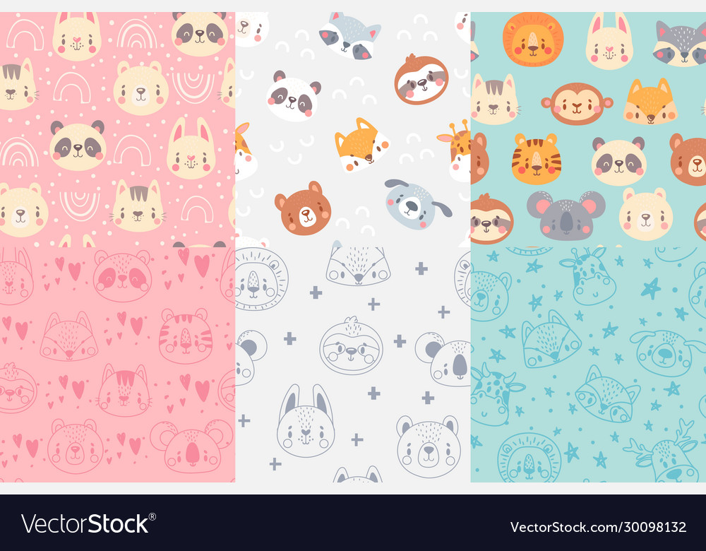Seamless animals faces pattern cute animal heads
