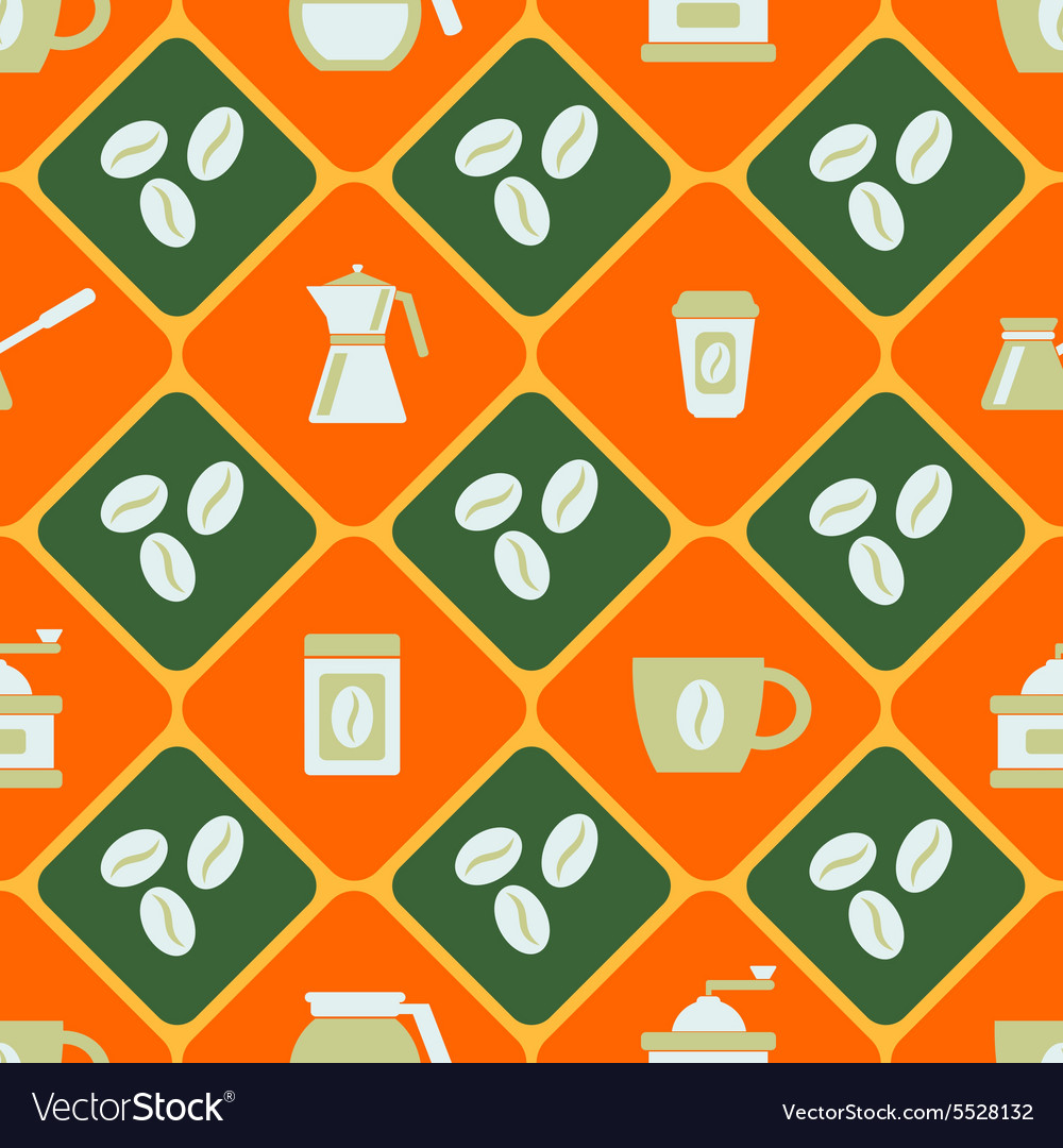 Seamless background with coffee vector image