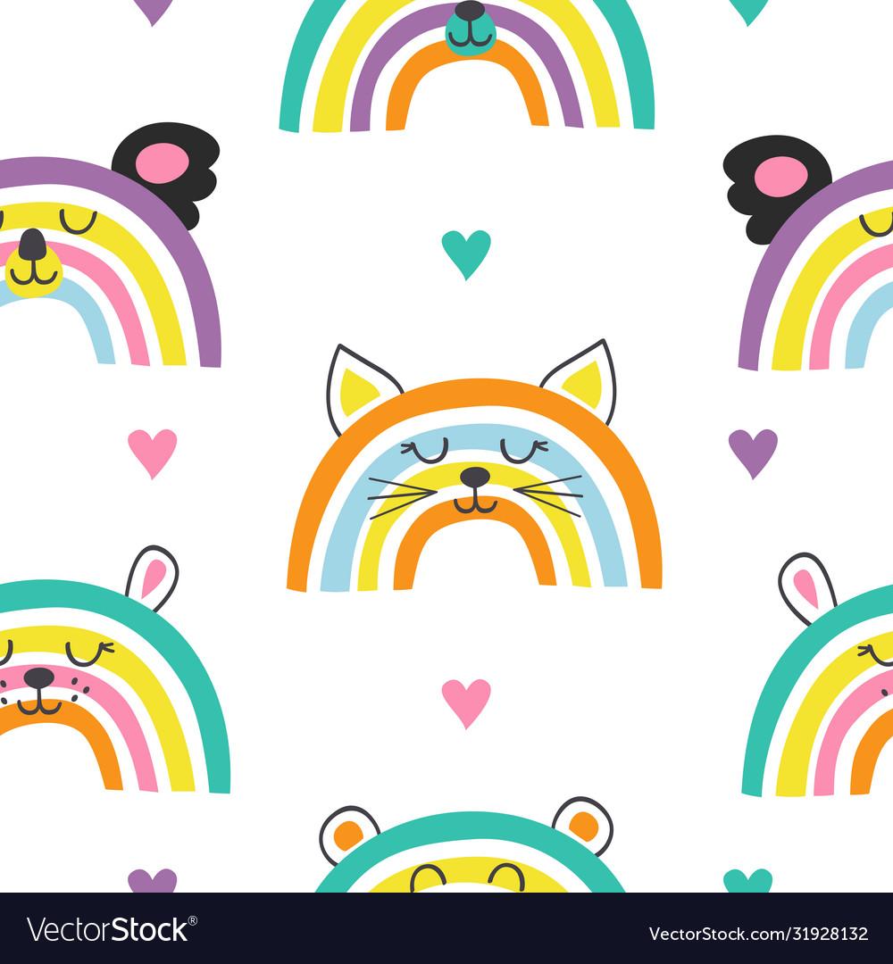 Seamless pattern with cute baanimals rainbows
