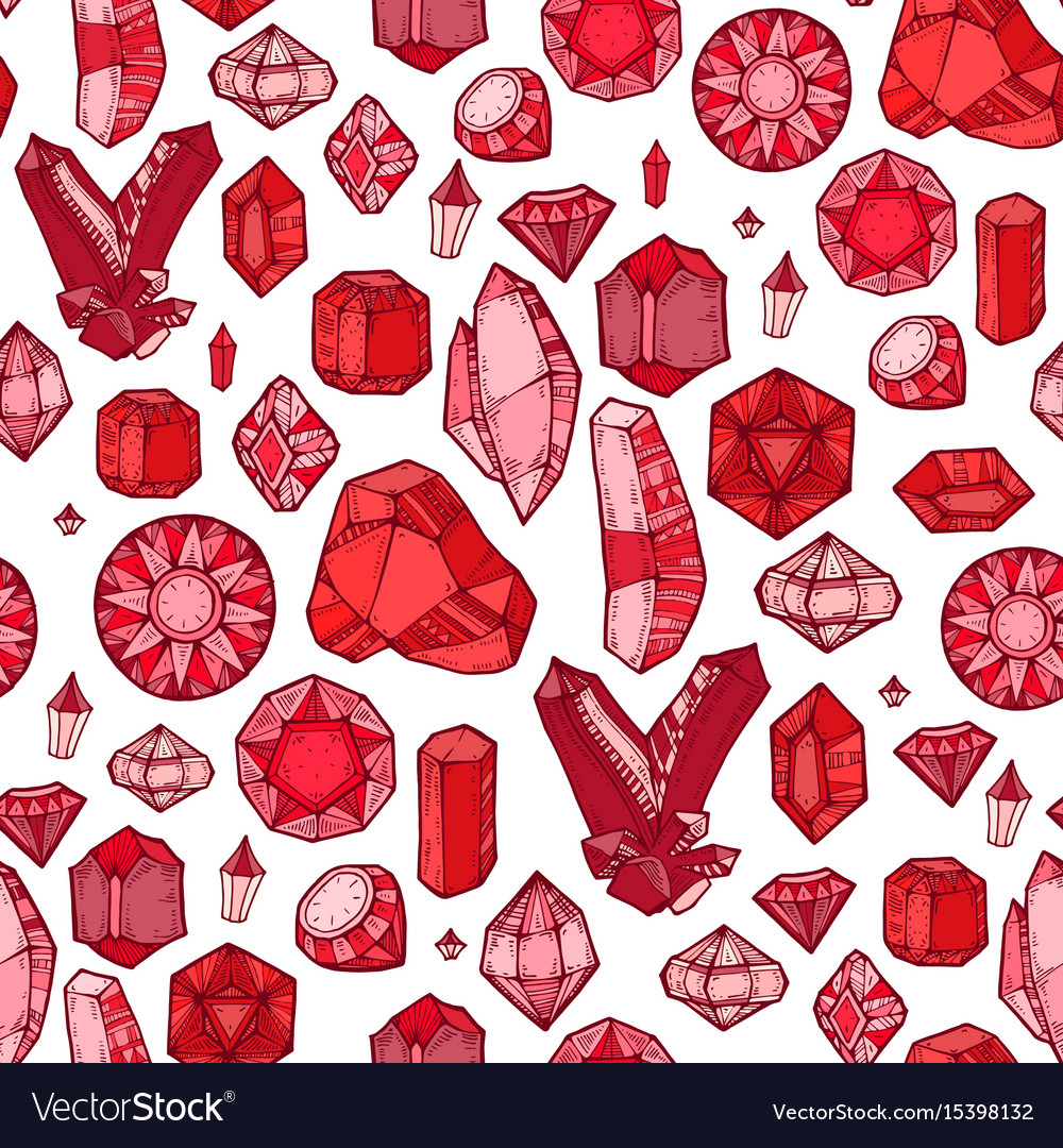 Seamless pattern with gems and diamonds