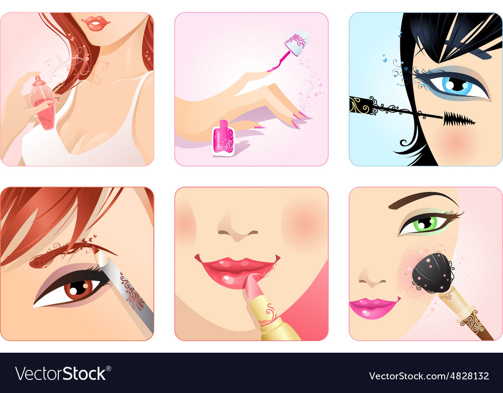 Set of make-up square icons