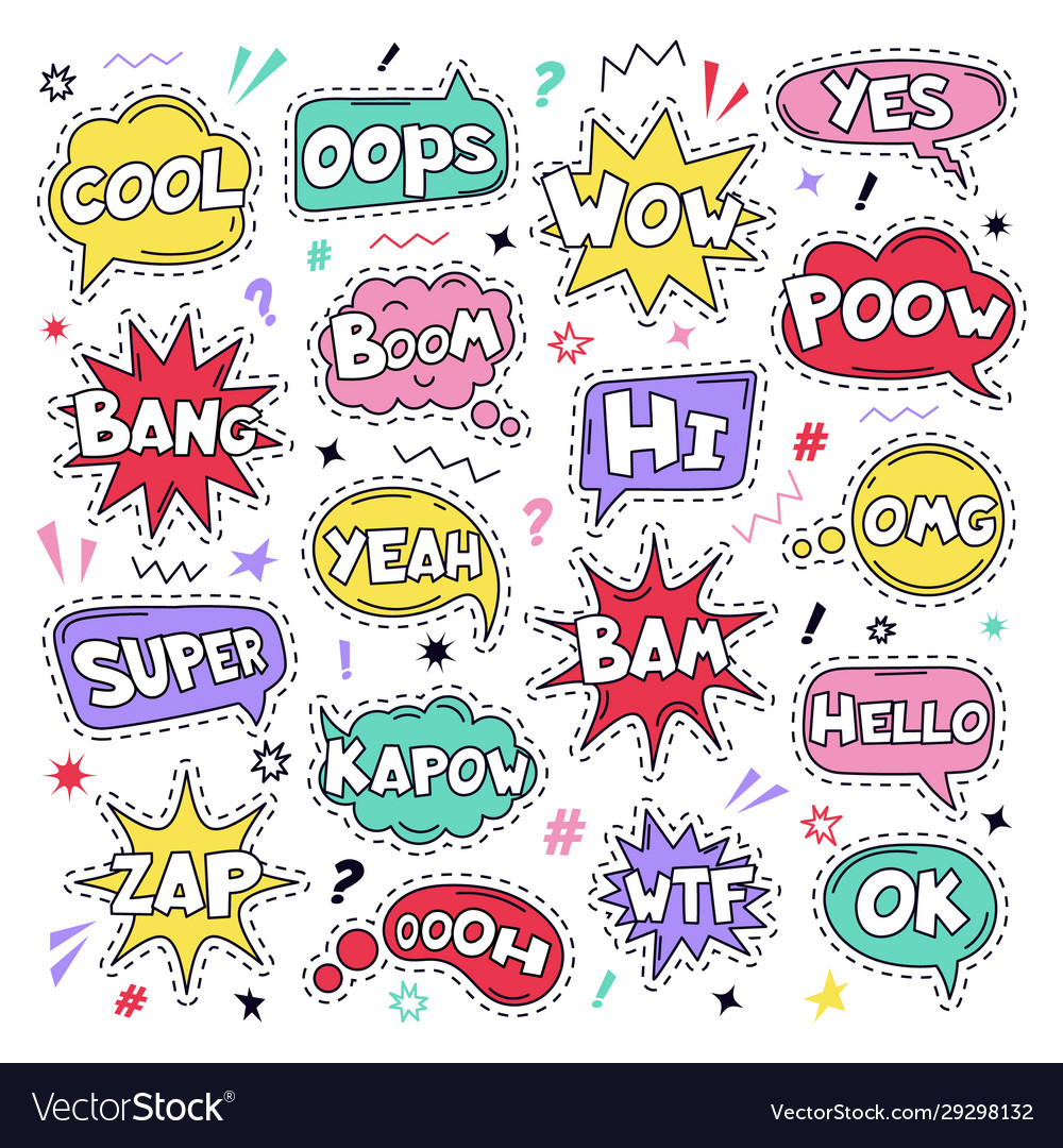 Text patch stickers speech comic funny text patch
