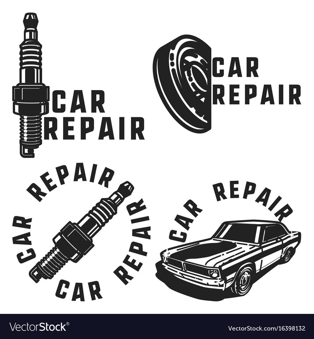 Vintage car repair emblems
