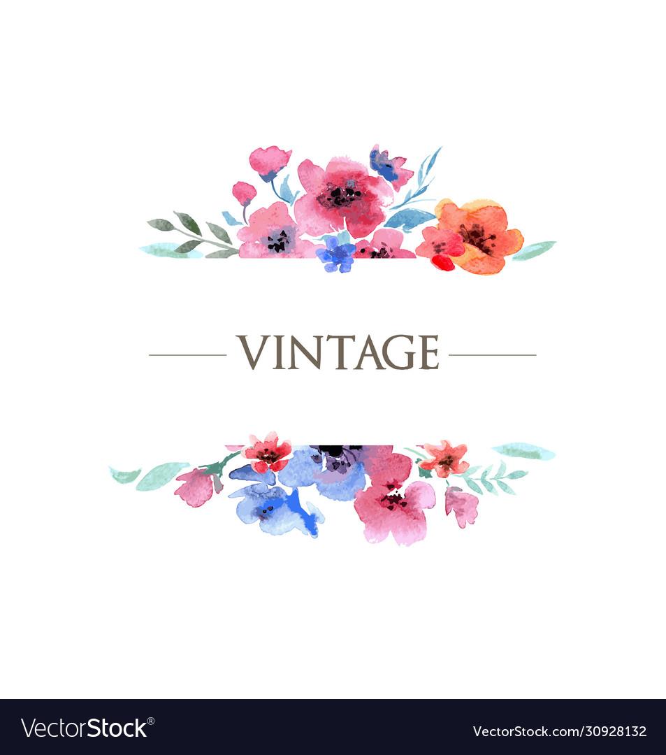Vintage floral watercolor frame