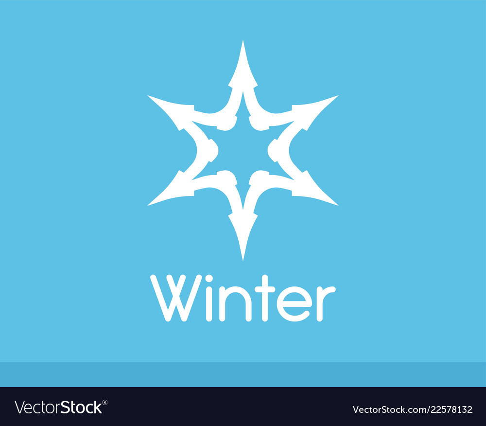 Winter snowflake symbol white color isolated on