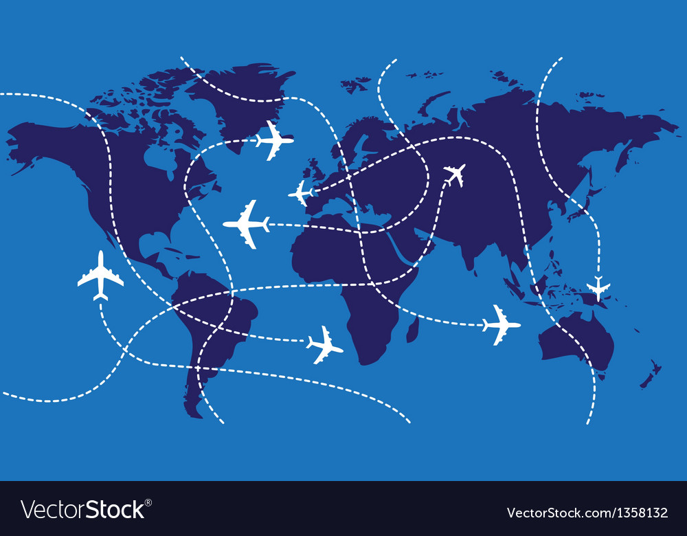 World Map Airplane Flights Royalty Free Vector Image Enchanting Flight Pattern Map