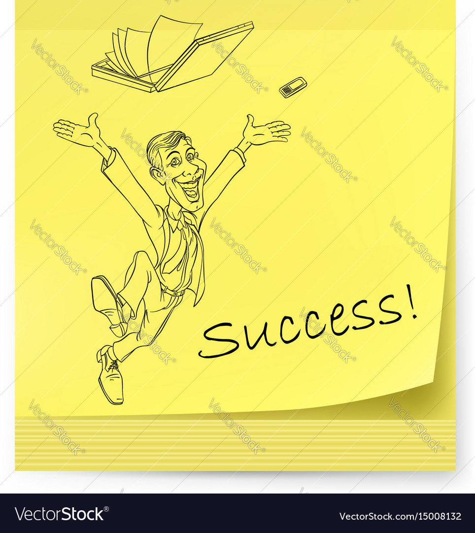 Yellow sticker with man and success on white vector image