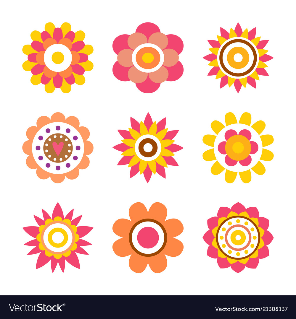 Abstract round fowers made of circle cartoon style