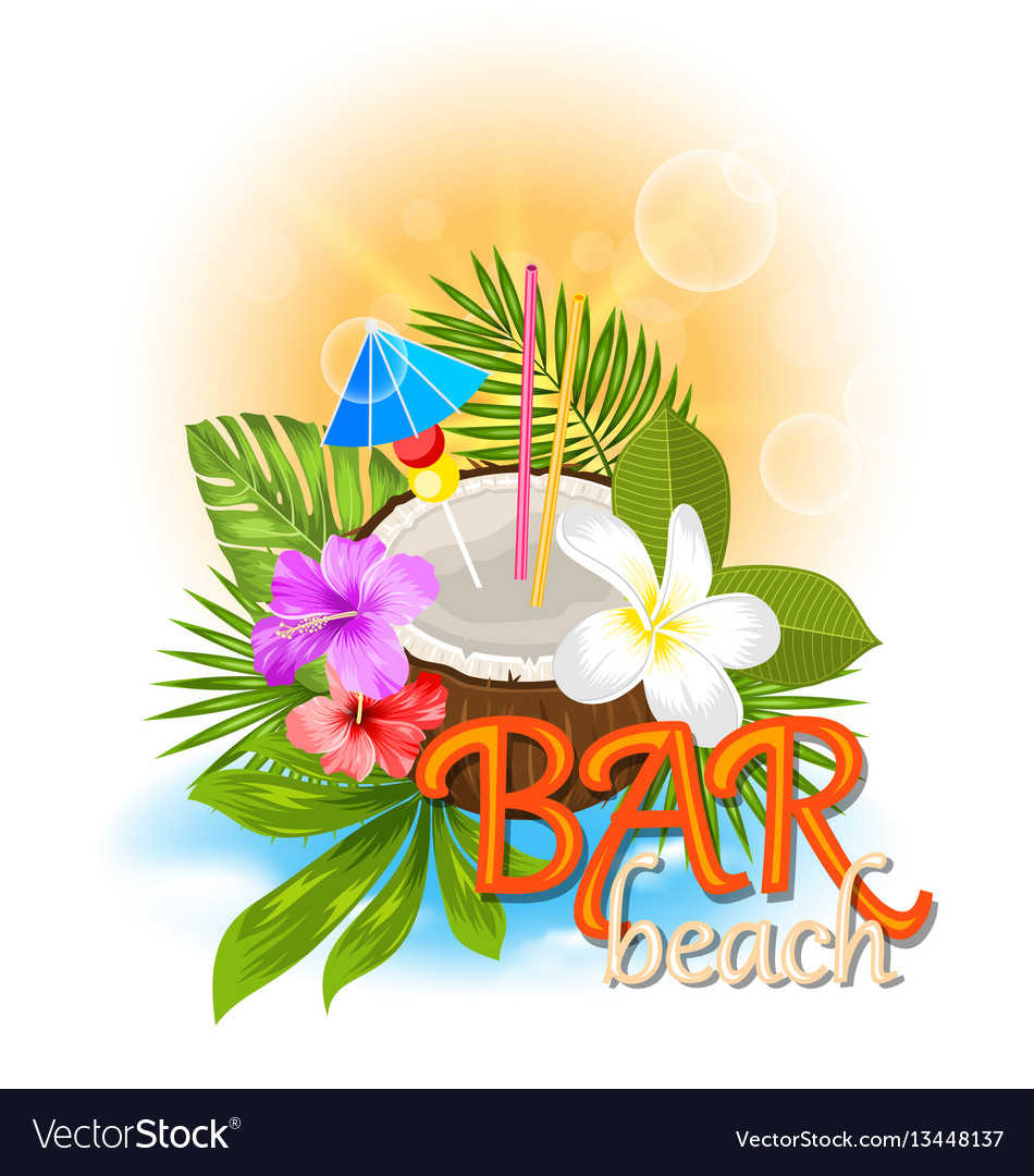 Beach bar background with coconut cocktail