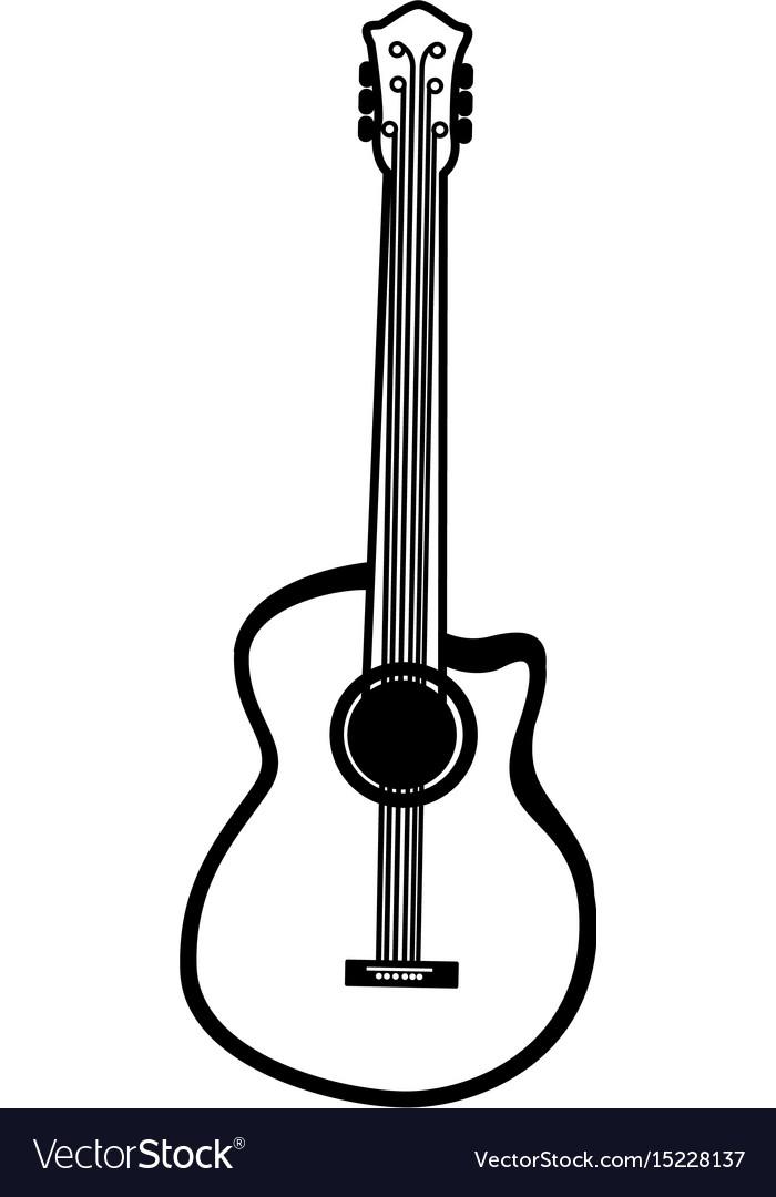 Black Icon Guitar Cartoon Royalty Free Vector Image