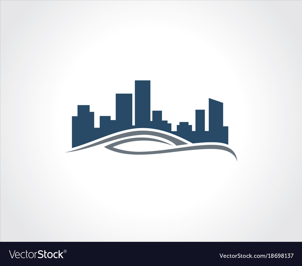 Building cityscape wave logo vector image