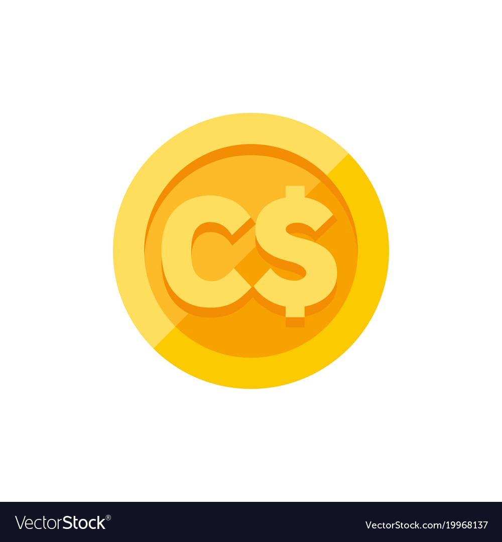 Canadian Dollar Currency Symbol On Gold Coin Flat Vector Image