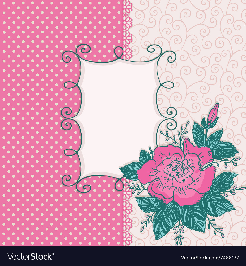 Card with pink rose flowe