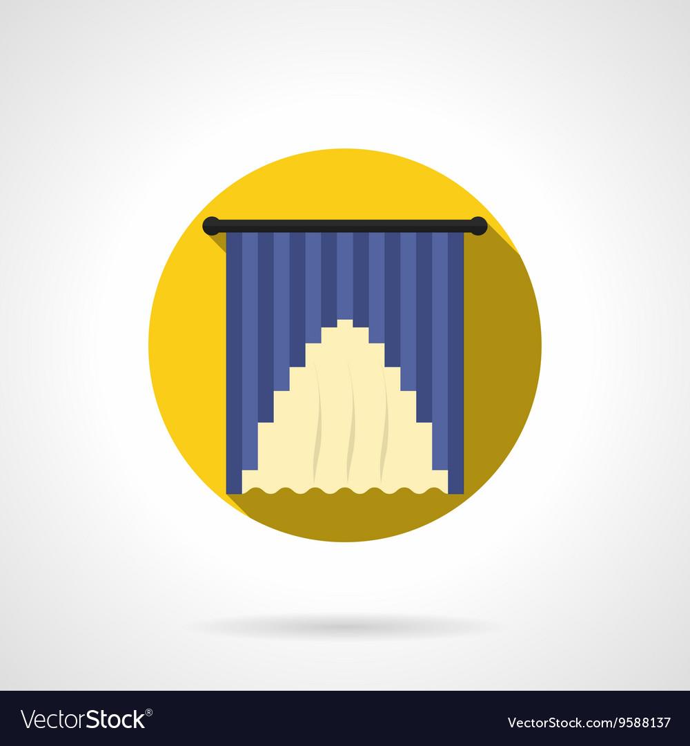 Curtains decor round flat icon