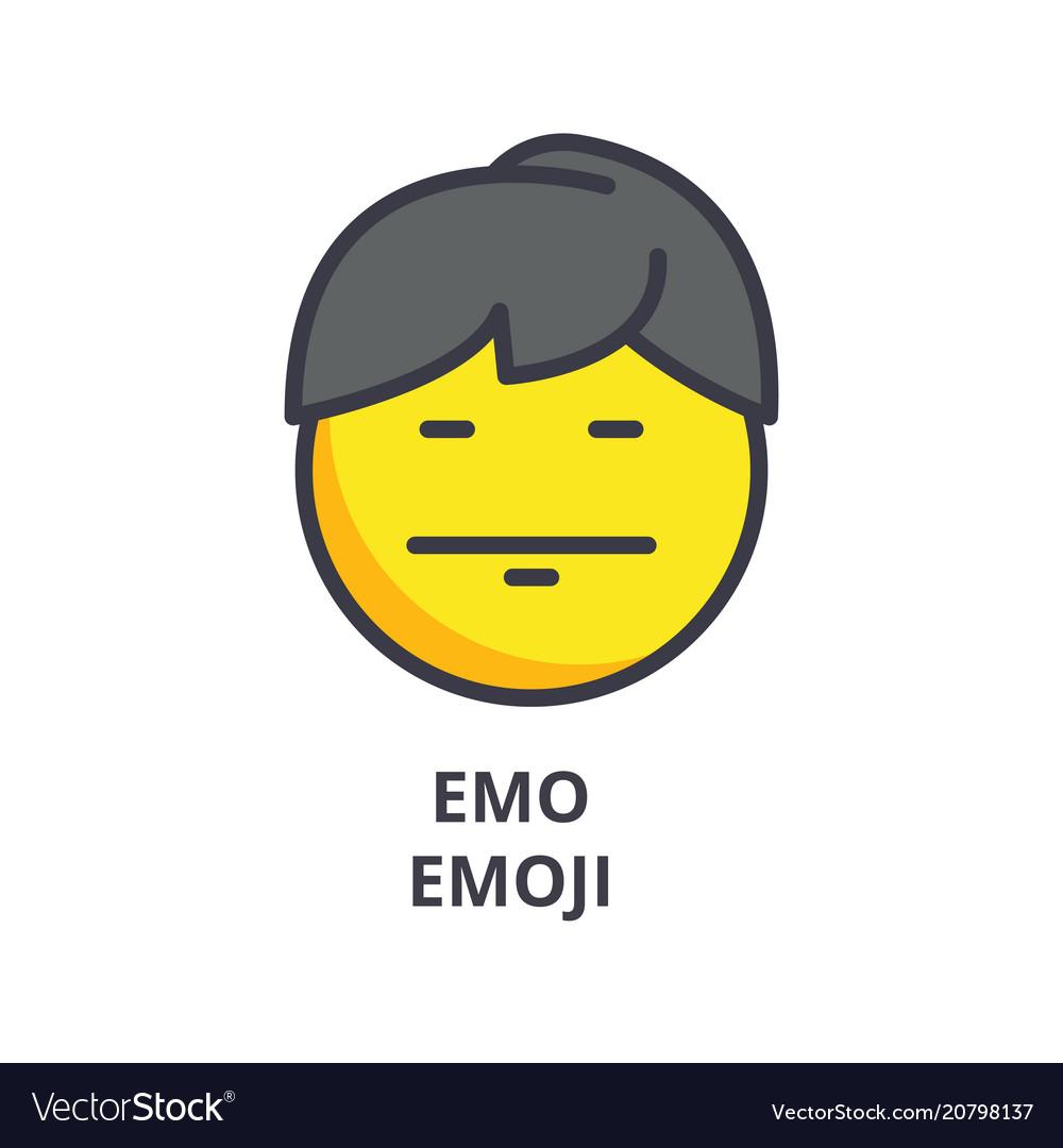 Emo emoji line icon sign on vector image