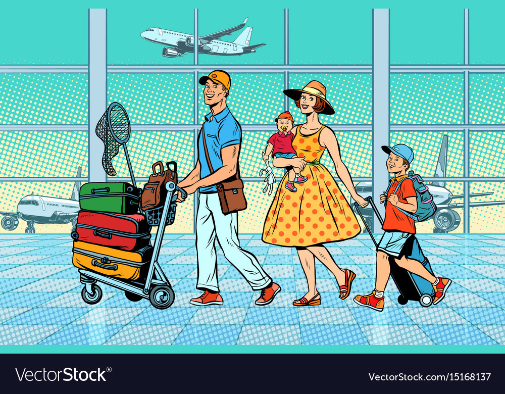 Family travelers at the airport vector image