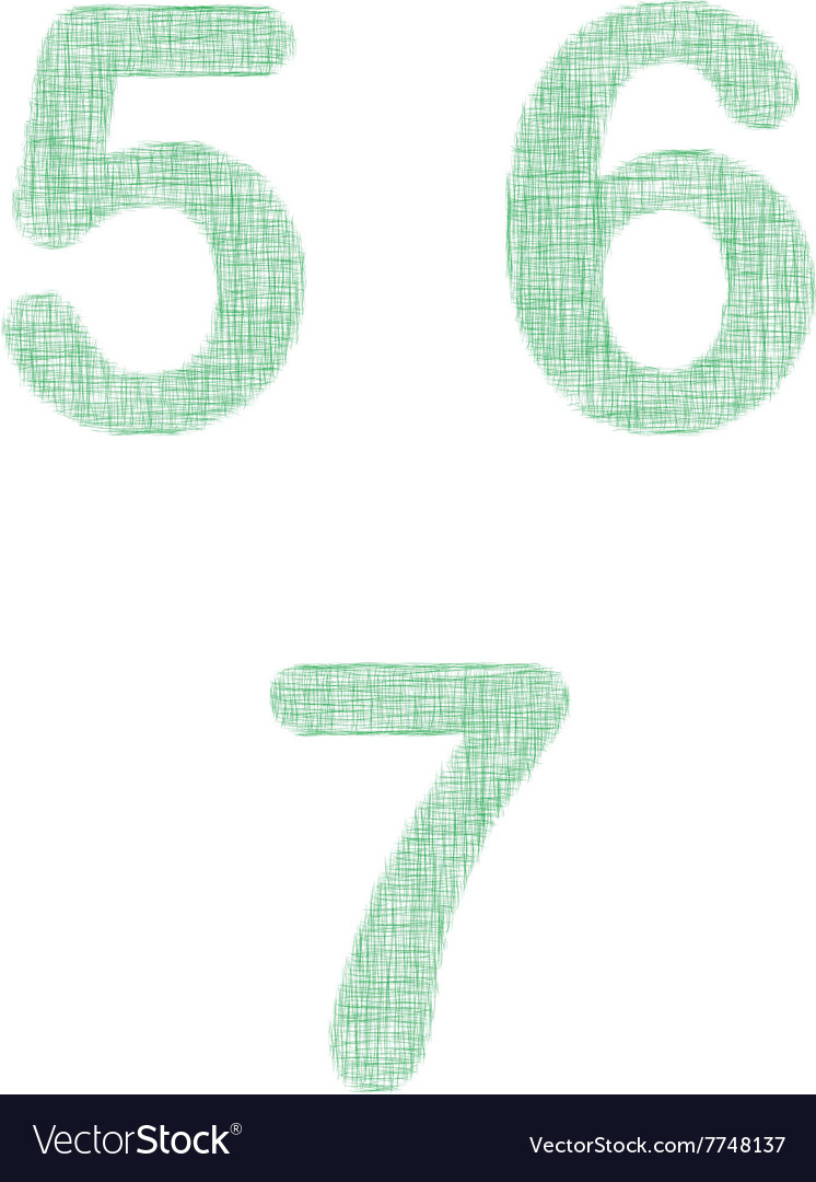 Green fabric font set - numbers 5 6 7