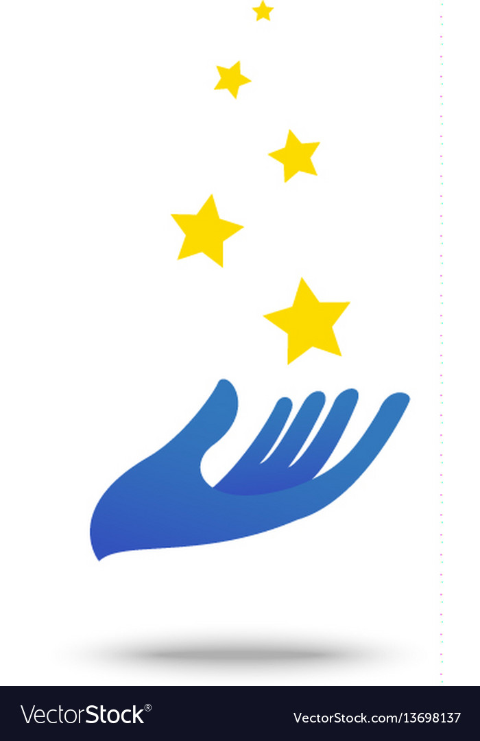 Hand with star symbol element and icon vector image