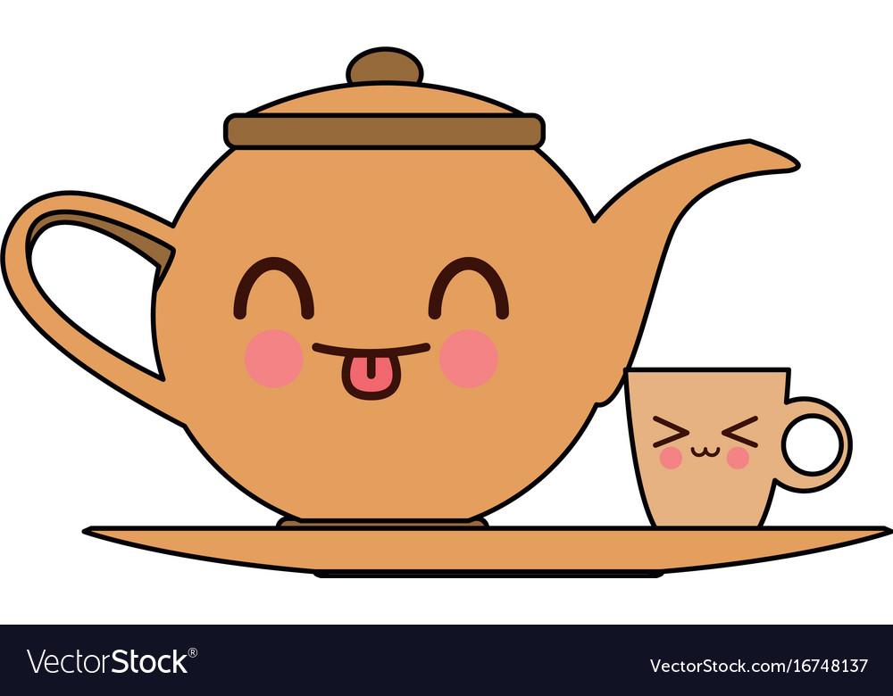 Kawaii Teapot And Cup Beverage Cartoon Royalty Free Vector