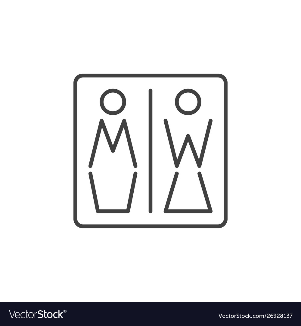Men and women toilet concept icon in thin