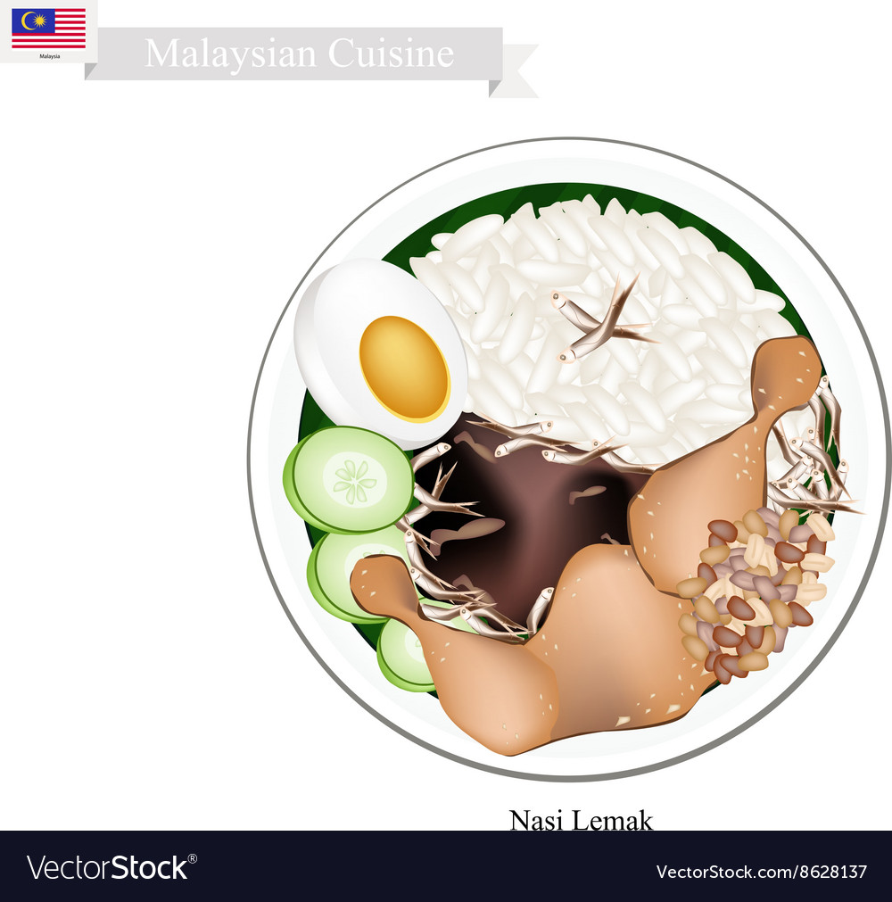 Nasi Lemak or Malaysian Rice with Coconut Milk