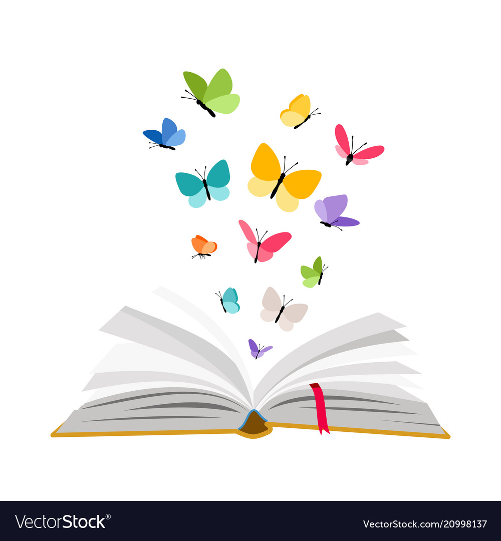 open book with butterflies royalty free vector image