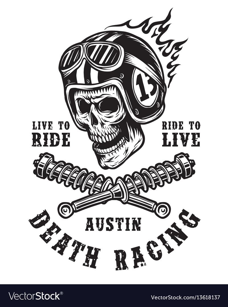Racing emblem with skull in helmet