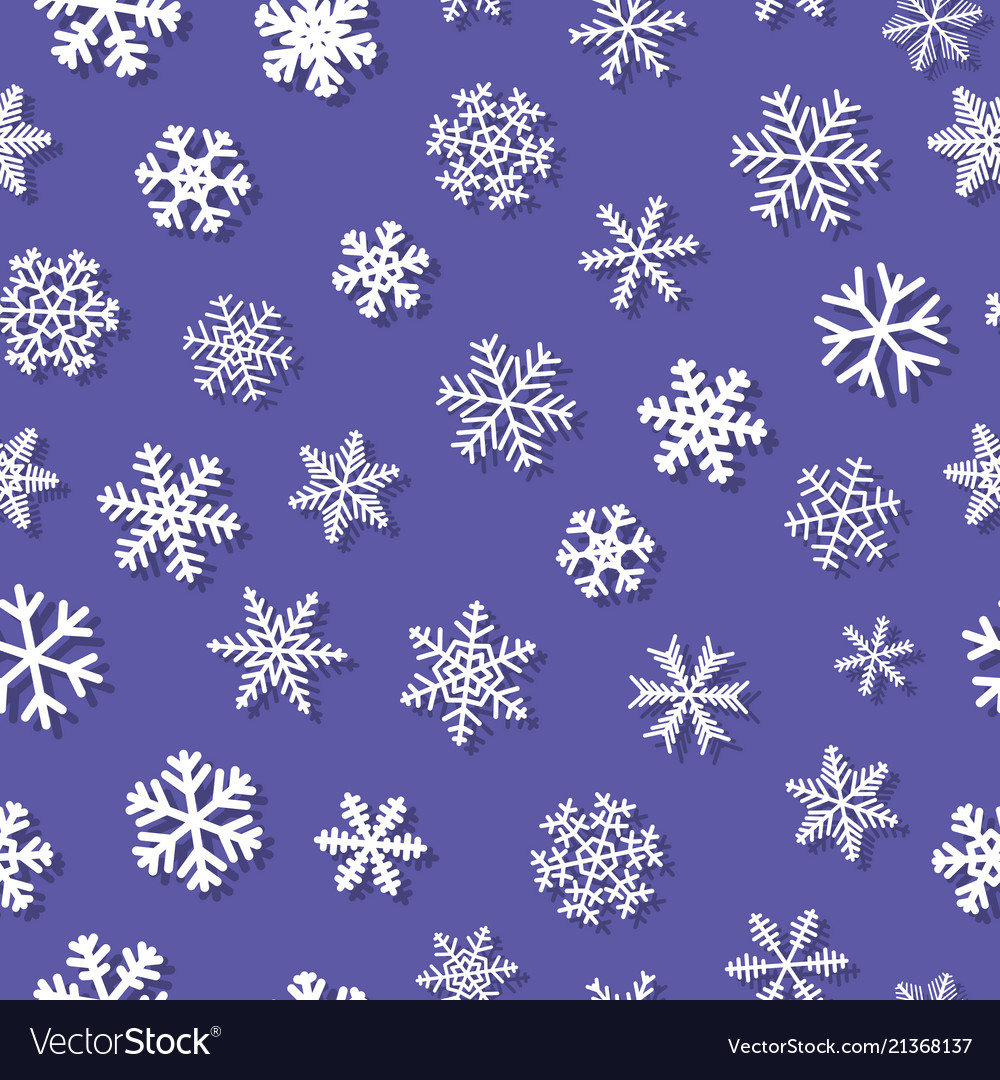 Seamless pattern of snowflakes with shadows
