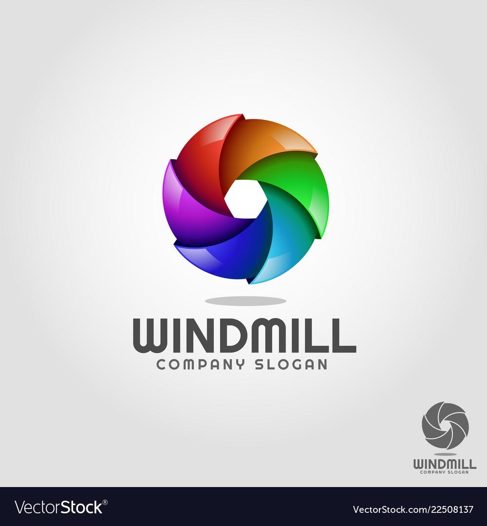 Windmill - stylish 3d vortex circle logo template