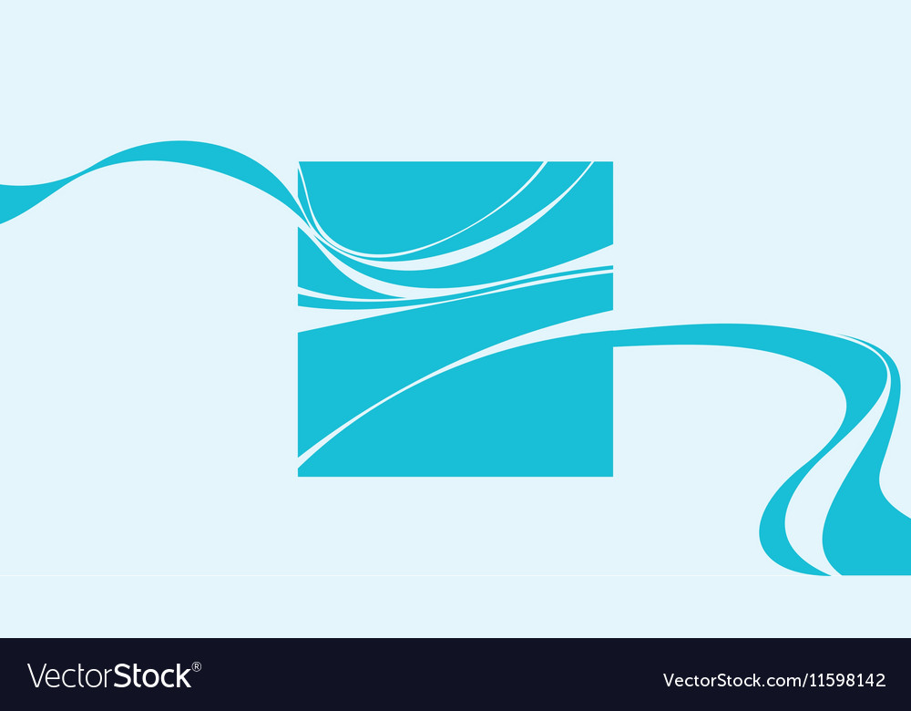 Blue square with abstract smoke wave elements vector image