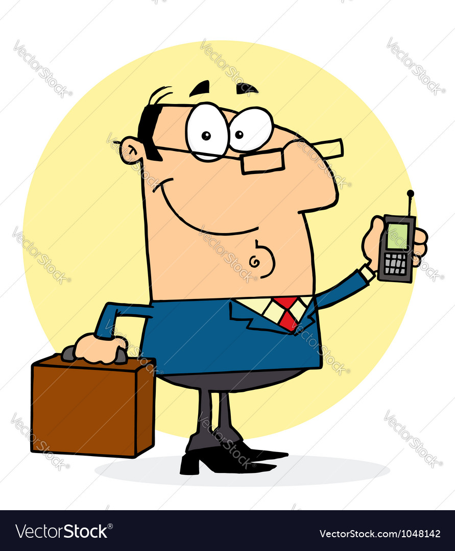Businessman Holding A Briefcase And Cell Phone