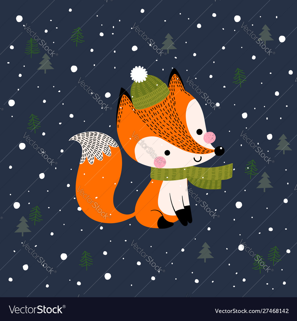 Christmas and new year greeting card with fox