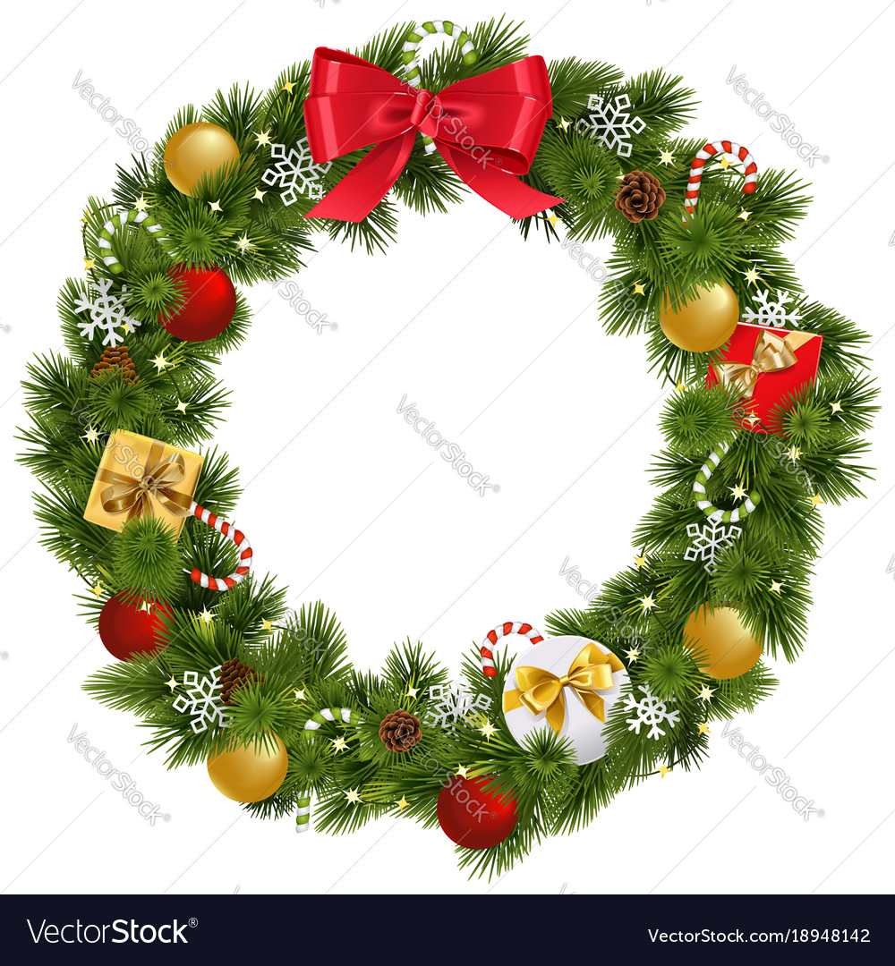 Christmas Wreath Images Free.Christmas Wreath With Garland