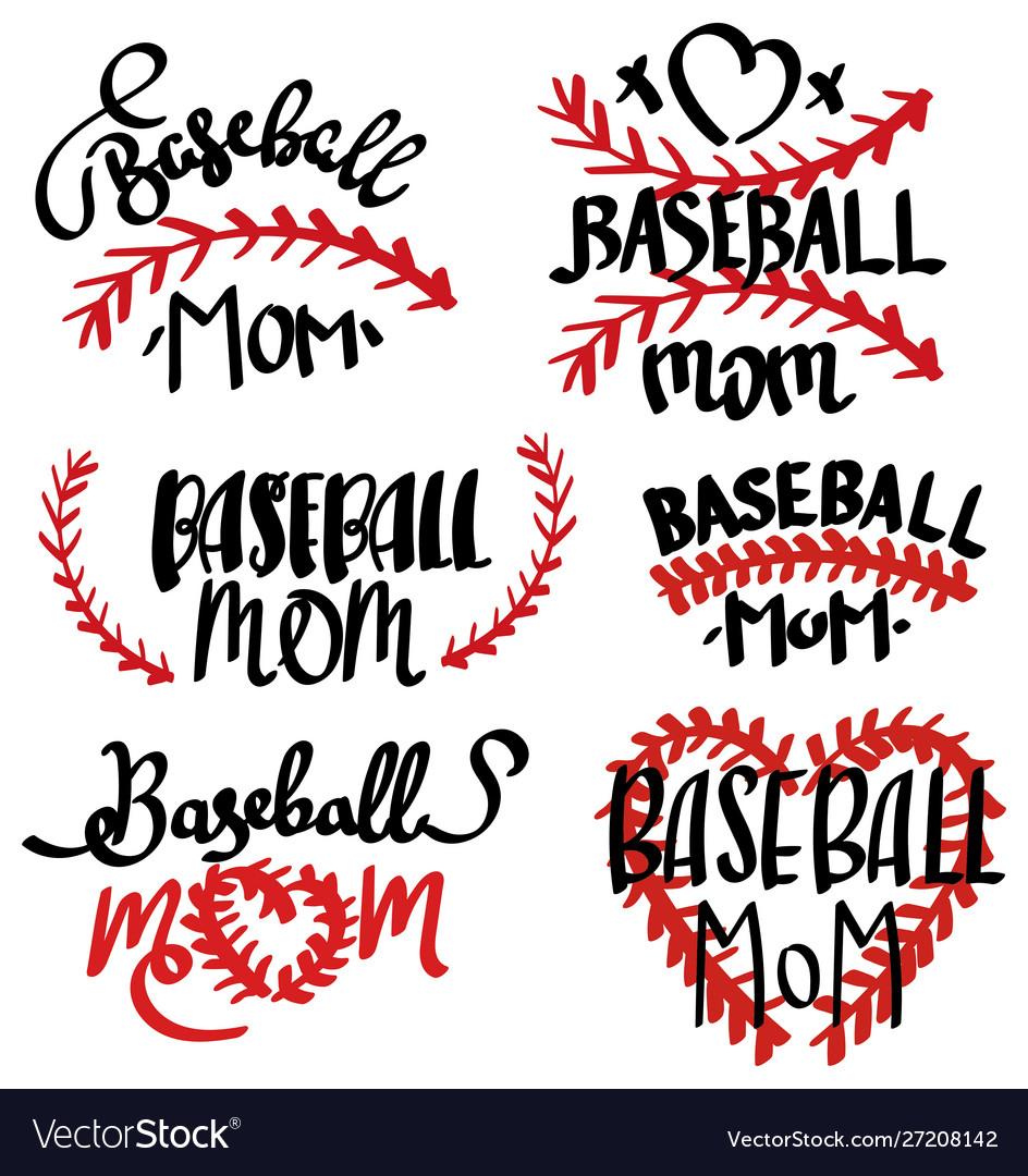 Collection baseball mom inscriptions set of